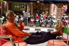 A rickshaw driver of Yogyakarta, Indonesia Royalty Free Stock Photography