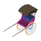 Rickshaw icon in cartoon style isolated on white background. Transportation symbol stock vector illustration. Royalty Free Stock Image