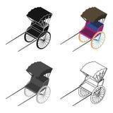 Rickshaw icon in cartoon style isolated on white background. Transportation symbol stock vector illustration. Royalty Free Stock Photo