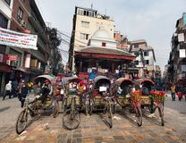 Rickshaw in Kathmandu city in Nepal Royalty Free Stock Photo