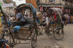 Rickshaw. KATHMANDU, NEPAL – CIRCA OCTOBER 2013: rickshaw is a very popular means of public transport in cities in Nepal circa October 2013 in Kathmandu Royalty Free Stock Photography