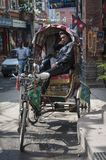 Rickshaw man is waiting for tourists Royalty Free Stock Images