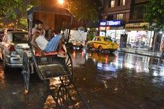 Rickshaw Puller In Kolkata Stock Images