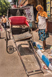 Rickshaw puller in Kolkata Royalty Free Stock Photo