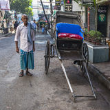 Rickshaw on the street in Calcutta Royalty Free Stock Photo