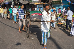 Rickshaw on the street in Calcutta Stock Photo