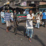 Rickshaw on the street in Calcutta Royalty Free Stock Photography