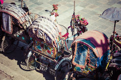 Rickshaw is a very popular type of public transport in cities in Royalty Free Stock Photos