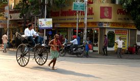 RickshawPuller Royaltyfri Fotografi