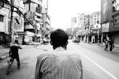 Rickshawpuller dans la ville Bangladdesh de Dhaka Photos libres de droits