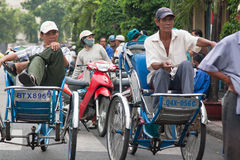 Rickshaws in Asia. A lot of trishaws you can find in Saigon (Ho Chi Minh), Vietnam Stock Image