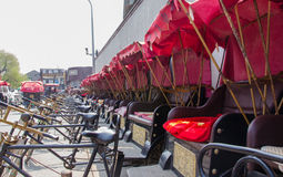 Rickshaws of Beijing Shichahai, China. Shichahai is an historic scenic area consisting of three lakes in the north of central Beijing in China. They are located stock photo