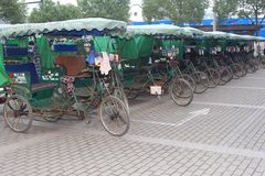 Rickshaws for city transport in the water town of Wuzhen, China Stock Photography