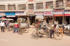 Rickshaws at Dasaswamedh Ghat Stock Photos