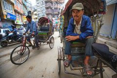 Rickshaws driver stock image