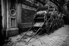 Rickshaws in monochome royalty free stock images