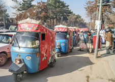 Rickshaws of Quetta. Row of rickshaws waiting for passengers in Quetta city, Pakistan Royalty Free Stock Photography