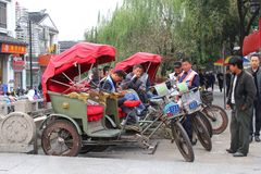 Rickshaws, transportation industries in the water town of Suzhou, China Royalty Free Stock Photo