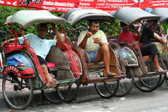 Rickshaws in Yogya Stock Photo