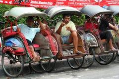 Rickshaws in Yogya. Rickshaw waiting for a ride, Yogyakarta, Indonesia Stock Photo