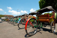 Rickshaws in Yogykarta, Indonesia Stock Photos