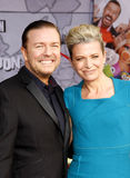 Ricky Gervais and Jane Fallon. At the Los Angeles premiere of Muppets Most Wanted held at the El Capitan Theatre in Los Angeles, United States, 110314 royalty free stock images