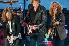 Ricky Phillips, James Young & Tommy Shaw of STYX performing in California Royalty Free Stock Image