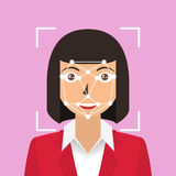 Riconoscimento facciale Identificazione biometrica Fotografie Stock Libere da Diritti