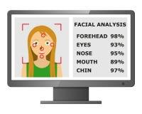 Riconoscimento facciale Identificazione biometrica Fotografie Stock