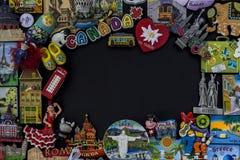 Ricordo del magnete da molti paesi differenti nel mondo Fotografie Stock Libere da Diritti