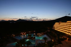 Ricorso di notte, isola Lazarote delle Canarie Fotografia Stock