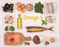 Ricos de la comida en el ácido graso de Omega 3 Imágenes de archivo libres de regalías