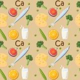Ricos do alimento no teste padrão sem emenda do cálcio Foto de Stock
