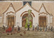 Ricos que ayudan a la pintura al óleo pobre Imagenes de archivo