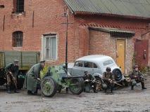 Ricostruzione della seconda guerra mondiale di rissa per strada Fotografia Stock Libera da Diritti