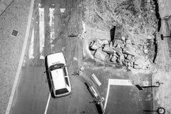 Ricostruzione della strada a Oporto, Portogallo Fotographia in bianco e nero Immagine Stock Libera da Diritti