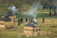 Ricostruzione delle battaglie della guerra patriottica di una città Maloyaroslavets di 1812 Russi Immagini Stock