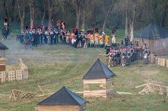Ricostruzione delle battaglie della guerra patriottica di una città Maloyaroslavets di 1812 Russi Immagine Stock Libera da Diritti