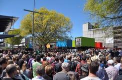 Ricostruzione di Christchurch - la vendita al dettaglio centrale si apre Immagine Stock Libera da Diritti