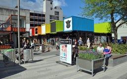 Ricostruzione di Christchurch - negozi del contenitore Fotografia Stock