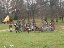 Ricostruzione di Napoleon Wars Loading Canon Fotografia Stock