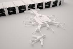 Ricostruzione di un terminale e di un aeroplano di aeroporto Fotografie Stock Libere da Diritti