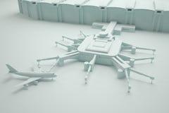 Ricostruzione di un terminale e di un aeroplano di aeroporto Immagine Stock Libera da Diritti