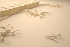 Ricostruzione di un terminale e di un aeroplano di aeroporto Fotografia Stock Libera da Diritti