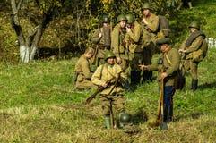 Ricostruzione di una battaglia della guerra mondiale 1941 2 nella regione di Kaluga di Russia Fotografia Stock Libera da Diritti