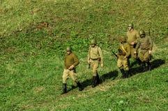 Ricostruzione di una battaglia della guerra mondiale 1941 2 nella regione di Kaluga di Russia Immagini Stock Libere da Diritti
