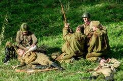 Ricostruzione di una battaglia della guerra mondiale 1941 2 nella regione di Kaluga di Russia Immagine Stock