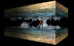 Ricostruzione di una caverna, spaccato tridimensionale Speleologo dentro una caverna fra le stalattiti e le stalagmite Fotografie Stock