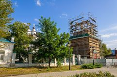 Ricostruzione e riparazione della chiesa ucraina ortodossa Fotografie Stock Libere da Diritti