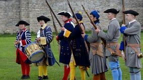 Ricostruzione storica della battaglia del periodo di Narva 1700-1704 stock footage
